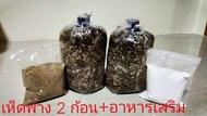 ก้อนเชื้อเห็ดฟาง (2 ก้อน) สามารถนำไปขยายต่อในก้อนฟางหรือตะกร้า 2-3 ก้อนฟาง มีคู่มือและขั้นตอนการขยายเชื้อ