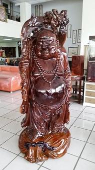 國際二手貨----台灣早期  紅豆杉木雕 財神 彌勒佛  高210公分  栩栩如生