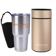 【FUJI-GRACE】保溫保冷不鏽鋼悶燒旋蓋杯900ml(附提袋)+陶瓷易潔手提附匙悶燒罐1000ml