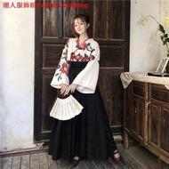 Hanfu Women's Red Camellia Girl Oriental Retro Suit