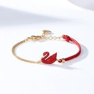 สร้อยข้อมือ Swarovski สร้อยข้อมือหงส์แดงเชือกมือสร้อยข้อมือสีแดงสำหรับแฟนของขวัญปีใหม่