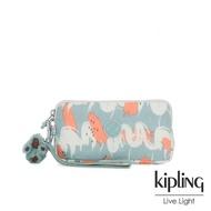 【KIPLING】湖水綠印象派塗鴉手拿包-LOWIE