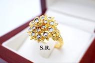 แหวนเพชรซีก 2 ชั้นสุโขทัยโบราณ เพชรซีกน้ำ100 พร้อมใบรับรองสินค้า เคลือบทองคำแท้100