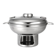 Multi-Cooker 22cm Stainless Steel Shabu Shabu Hot Pot With Alcoho Burner and Lid