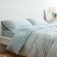 無印款天竺棉條紋床包四件組 床單被套枕套 無印良品  綠色條紋 專櫃 單人床包 雙人床包 雙人加大特大
