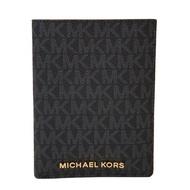 MICHAEL KORS MK 黑灰色 防刮PVC皮革 證件夾 護照夾 卡片夾 皮夾 有鈔票層~M10370