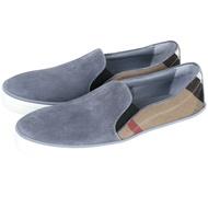 BURBERRY CANVAS 格紋麂皮便鞋(灰藍色)