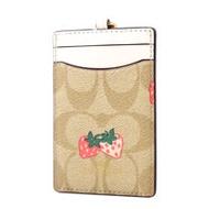 COACH 塗鴉草莓緹花LOGO防刮皮革識別證掛帶票卡夾-白色