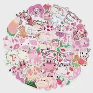 10/50PcsสีชมพูVSCOสตรอเบอร์รี่วัวการ์ตูนสติกเกอร์สัตว์Decalsสำหรับเด็กDIYกระเป๋าเดินทางแล็ปท็อปจักร...