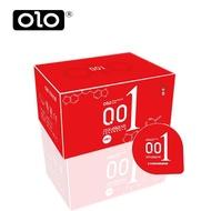 ถุงยางอนามัย olo บาง0.01 size 52 mm. (10ชิ้น/1กล่อง) แดง 1กล่อง ถุงยาง condom ขนาด 52 มม.