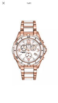 Citizen Eco Drive FB1233-51A Rose Gold White Ceramic Chronograph Date Watch