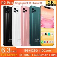 i12 smartphone 8GB RAM 128GB ROM 6.1 inch Smart Phones Handphone Mobile Phone 4G (iPhone original screen)