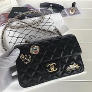 實拍 Chanel Jumbo 香奈兒 COCO 30cm 經典款 銀鏈 雙蓋 羊皮款黑色