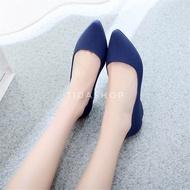 รองเท้าคัชชูยางนิ่มส้นเตารีดใส่ทำงาน สีน้ำเงิน