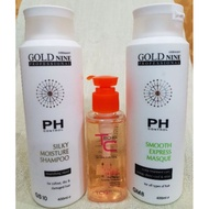 Gold Nine Silky Moisture Shampoo 400ml & Masque 400ml & TC Serum 125ml