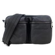 【LONGCHAMP】3D系列小牛皮雙口袋腰包(黑)