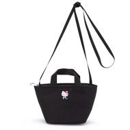〔小禮堂〕Hello Kitty 迷你帆布刺繡手提包斜背包《黑.全身》化妝包.手提收納包