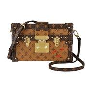 【Louis Vuitton 路易威登】LV M44154 PETITE MALLE花紋LOGO Monogram帆布小行李箱設計扣式斜背包(棕)
