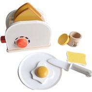 Ins ของเล่นบ้านเด็กเล่นทำจากไม้,เครื่องทำขนมปังเครื่องชงกาแฟของเล่นทำครัวของเด็กจำลองเพื่อการศึกษา