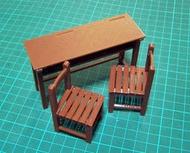 國中 國小課桌椅 雙人 1/12 模型 懷舊 復古