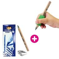 【美國The pencil grip】大三角握筆器(1入)+【德國LYRA】三角原木鉛筆(6入) 組合包