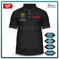 Dry Fit Monster Yamaha Polo T Shirt Sulam MotoGP Motorcycle Motosikal Superbike Racing Team RXZ TZM SRL Y15 Y125Z LC135