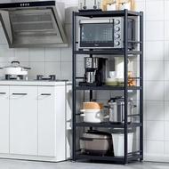【HappyLife】黑色不鏽鋼置物架 五層60CM YV9992(落地置物架 家電收納架 微波爐烤箱氣炸鍋架 廚房置物架)