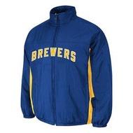 ё空運來台,現貨供應 ё 2014 MLB 美國職棒大聯盟 ★ 釀酒人隊(藍色) ★  Brewers   球員版外套 ~數量有限