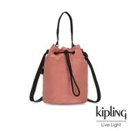 Kipling 都會金屬珊瑚橘大容量手提兩用水桶包-LABI