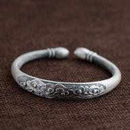 999 Silver Vintage Silver Bangle Women Bangle Propitious Clouds Good Luck Bangle