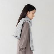 褶毛絨短圍巾(淺灰色、短)