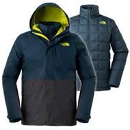 【美國 The North Face】男新款 防風防水透氣耐磨連帽兩件式外套.夾克/ 3L8O 藍/灰 N