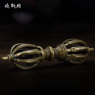 藏傳 佛具用品 密宗供具尼泊爾手工純銅九股金剛橛金剛杵供具擺件