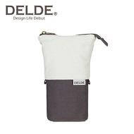 灰色款【日本正版】DELDE 純色系列 帆布 伸縮筆袋 筆筒 鉛筆盒 收納包 sun-star - 489575