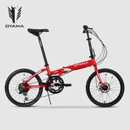 folding bicycle mtb bike basikal mtb bicycle ♟OYAMA folding bike 20 inch 12 speed aluminum alloy folding frame for men a