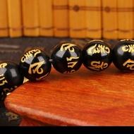 Gelang Pixiu Obsidian 10 mm / Gelang Mantra Buddha / Gelang Feng Shui - A - 1 Pixiu - sedia cincin pria titanium asli anti karat keren batu akik original ori metal silver kecil hijau air kalimaya bacan mewah couple tunangan 2 pcs emas plus box ukir nama