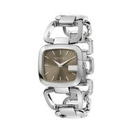 Gucci 古吉YA125402經典方G手環時尚腕錶/茶面32*30mm