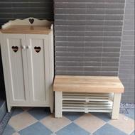 小森林  原木 鄉村風鞋櫃與座鞋椅 現貨