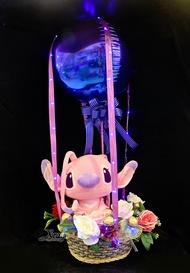 12吋坐姿天使史迪奇幸福熱氣球,Stitch/捧花/情人節金莎花束/熱氣球/畢業花束/亮燈花束/情人節禮物/婚禮佈置/生日禮物/派對慶生/告白/求婚,X射線【Y290024】