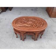 柚木全實木泡茶桌含6椅組H02101快樂福二手倉庫