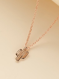 Girls Gold Cactus Charm Necklace