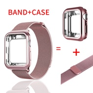 Case + BAND สำหรับ Apple Watch band 4 44 mm I Watch band 42mm 38/40 MM Milanese LOOP Bracelet สายนาฬิกาข้อมือ Watch Accessories Series 4 3 2