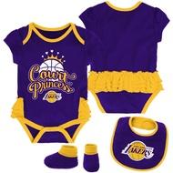 美國 NBA 洛杉磯 湖人 Los Angeles Lakers  新生兒 寶寶 包屁衣 、圍兜及腳套3合1套組
