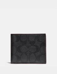 ซื้อซื้อของแท้ COACH ผู้ชายกระเป๋าสตางค์ใบสั้นหนังครึ่งพับบัตรผู้ถือบัตรผู้ถือ
