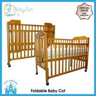 "BabyOne Foldable Cot + 4""Antidustmite Mattress with Holes (Natural)"