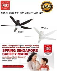 KDK 5 Blade 60 DC Motor Ceiling Fan U60FW with 22watt LED Light *1 year KDK Singapore Warranty *