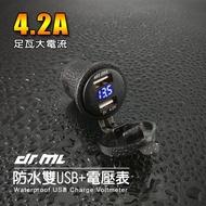 【現貨】電壓顯示+雙孔USB防水二合一摩托車USB 機車USB 電單車USB UBER EATS、FOOD PANDA
