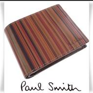 全新 Paul Smith 復古條紋 皮夾 牛革 短夾