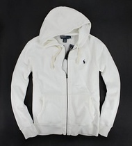美國百分百【全新真品】Ralph Lauren Polo 男 連帽外套 抽繩 帽T 棉質夾克 RL 白色 L號 B034