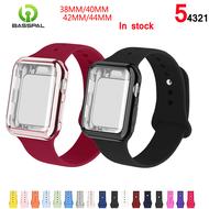BassPal Case + สายนาฬิกาสำหรับApple Watch 5 Band 44Mm Correa Apple Watch 38 Mm/40Mm Iสายนาฬิกาข้อมือ42Mmสร้อยข้อมือซิลิโคนสายนาฬิกาข้อมือ4/3/2/1อุปกรณ์สมาร์ทอุปกรณ์Smartwatchesสายรัดและเคส